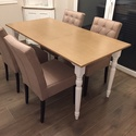 Vintage provence asztal, Bútor, Asztal, Vintage stílusú, esztergált lábú bükkfa asztal.  A képen látható asztal elkelt, egyedi mér..., Meska