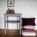 Varróasztalka, laptop asztal, Bútor, Asztal, különleges, lágy mályvás,  fáradt levendula színű asztalka.  60 éves, bükkfából készül..., Meska