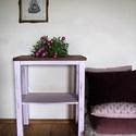 Rose lerakóasztalka, Bútor, Asztal, Festett tárgyak, Lágy, rózsaszínes árnyalatú lerakóasztalka. Antiolva. Mérete: 66 cm magas, asztallap mérete: 29x56 ..., Meska