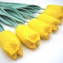 (10 db) TEXTIL TULIPÁN (citromsárga pöttyös), Egész évben tavaszt varázsol OTTHONODBA a tulip...