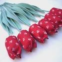 (6 db) TEXTIL TULIPÁN (piros apróvirágos), Dekoráció, Otthon, lakberendezés, Dísz, Ünnepi dekoráció, Egész évben tavaszt varázsol OTTHONODBA a tulipánok királynője: a TEXTIL TULIPÁN. A kertészek is cso..., Meska