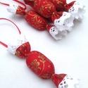 Piros-Arany Textil szaloncukor akasztóval 6 db (12x3cm-es), Dekoráció, Ünnepi dekoráció, Karácsonyi, adventi apróságok, Karácsonyfadísz, Piros-arany! Arany cérnával  varrva! 6 db textil szaloncukrot ajánlok egy csomagban. Pamutvásznak fe..., Meska