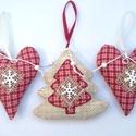 Karácsonyi függődísz 3 db, Dekoráció, Ünnepi dekoráció, Karácsonyi, adventi apróságok, Karácsonyi dekoráció, 3 db függődísz karácsonyi dekorációnak, karácsonyfadísznek, ajándéknak.  Anyaga: Zsákszerű szövet és..., Meska