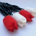 (4 db) TEXTIL TULIPÁN (piros,fehér), Dekoráció, Otthon, lakberendezés, Dísz, Ünnepi dekoráció, Egész évben tavaszt varázsol OTTHONODBA a tulipánok királynője: a TEXTIL TULIPÁN. A kertészek is cso..., Meska