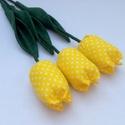 (3 db) TEXTIL TULIPÁN (citromsárga apró pöttyös), Dekoráció, Otthon, lakberendezés, Dísz, Ünnepi dekoráció, Egész évben tavaszt varázsol OTTHONODBA a tulipánok királynője: a TEXTIL TULIPÁN. A kertészek is cso..., Meska