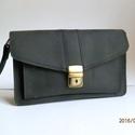 bőr autós táska, Táska, Férfi táska, Zsíros, fekete marhabőrből készült táska.Mérete:hossza:23cm, magassága:15cm, vastagsága:2x4..., Meska