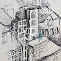 Belváros II. - Tető , Képzőművészet, Grafika, Rajz, Illusztráció, Fotó, grafika, rajz, illusztráció, Filc/ Akvarellpapír 24x16 cm Budapest , Meska
