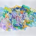 """Akvarell kép - """"cukor"""", Képzőművészet, Festmény, Akvarell, Grafika, Akvarell/ akvarellpapír 24x32 cm 2015. Budapest , Meska"""