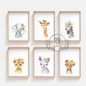 Safari Állatos, 6db, Babaszoba fali dekoráció, vízfesték, afriaki állat, oroszlán, elefánt, zebra, fali kép, A4 méret, Gyerek & játék, Otthon & lakás, Gyerekszoba, Baba falikép, Dekoráció, A4 Minőségi Papír Print Nyomtatás  6db-os szett  * KERET NÉLKÜL *   * KIVITELEZÉS & ELKÉSZÍTÉS: Fels..., Meska