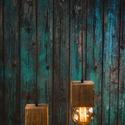 Fa függeszték, Otthon, lakberendezés, Lámpa, Fali-, mennyezeti lámpa, Hangulatlámpa, Famegmunkálás, Két darab fenyő gerendából készült kocka alakú foglalat egy 35cm hosszú gerenda darabról függesztve..., Meska