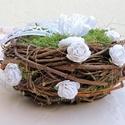 Gyűrűtartó madárfészek romantikus, rusztikus, egyedi , Esküvő, Esküvői dekoráció, Gyűrűpárna, Rusztikus, természetközeli esküvő az álmod? Hangulatos kiegészítője lehet ez a romantikus gyűrűtartó..., Meska