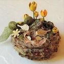 Tavasz madárfészek asztaldísz , Dekoráció, Otthon, lakberendezés, Ünnepi dekoráció, Asztaldísz, Rusztikus, bájos, vidám asztaldísz az ébredő természet jegyében. Ágakból készítettem a kis fészket, ..., Meska