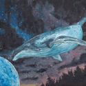 Az űr csodái - Univerzumos kép, Képzőművészet, Festmény, Akril, Festészet, Egy igazán különleges és fantáziával teli képemet vásárolhatja meg.  A bálna a szabadságot jelképez..., Meska
