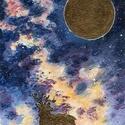 Az űr csodái - Aranyszarvas , Képzőművészet, Festmény, Akril, A csodaszarvas éjszakája :)  Festésre alkalmas papírra készült, akrillal. Arany festékkel kie..., Meska
