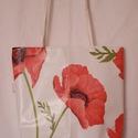 Pipacsos uzsonna táska, Táska, Szatyor, Pipacsos viaszosvászonból készült uzsonnás táska, de bármire használható. Mérete: 30 x 30 x8 cm. Kiv..., Meska