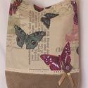 Pillangók röpte, Táska, Válltáska, oldaltáska, Pillangós bútorvászonból és egy kord szoknya felhasználásával készült nagyobb méretű táska. Réz fili..., Meska
