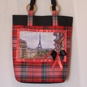 Párizsi kockás, Táska, Válltáska, oldaltáska, Kockás szövetből, vízálló aljjal és Párizsos rátéttel készült táska. Belül 2 zsebbel, mágneszárral. ..., Meska