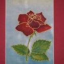 Falikép - piros rózsa, Dekoráció, Kép, Dísz, Selyemfestés, Valódi hernyóselyemre kézzel festett lakásdísz.  Újra divatba jöttek a faliképek, ez a bordó papír ..., Meska
