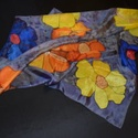 Hat szirmú virágok lila márványon (126), Táska, Divat & Szépség, Ruha, divat, Kendő, Valódi, 100%-os hernyóselyem sál minőségi francia festékkel, kézzel festve, gőzzel fixálva, márványo..., Meska
