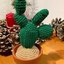 """Horgolt kaktusz, Otthon & Lakás, Dekoráció, Dísztárgy, Horgolás, Kötés, """"Nopal"""" kaktusz által ihletett, horgolással készült, barna színű, miniatűr kb.15cm magas 7cm széles..., Meska"""