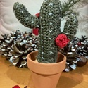 """Barna kaktusz, Otthon & Lakás, Dekoráció, Dísztárgy, Horgolás, Kötés, """"Carnegiea gigantea"""" kaktusz által ihletett ,horgolással készült, barna színű, miniatűr kb.15cm mag..., Meska"""