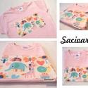 Rózsaszín alapon vidám mintás 5-6 éves (116cm) kislány póló, Baba-mama-gyerek, Ruha, divat, cipő, Gyereknap, Gyerekruha, A textil rátétet úgy készítem, hogy a mintát teljes terjedelmében felvasalom a pólóra egy kétoldalú ..., Meska