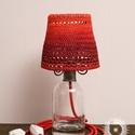 Borobudur piroska, Otthon, lakberendezés, Lámpa, Asztali lámpa, Hangulatlámpa, Horgolás, Újrahasznosított alapanyagból készült termékek, Régi újrahasznosított grappás üveg, egyedileg festett, keményített, horgolt fonal lámpaernyő, kovác..., Meska