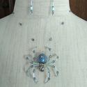 Kristály pók ékszerszett, Ékszer, Ékszerszett, Türkizkék 3D-s pók kristályokkal. Feltűnő, egyedi ékszer. A pók lábai hajlékonyak, óvatosan más form..., Meska