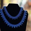 Anya-lánya szett, Ékszer, Nyaklánc, Gyöngyfűzés, Metál kék színben készült csiperke csiszolt gyöngyökkel díszítve. A kisebb 31 cm, a hosszabb 42 cm+..., Meska