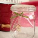 Karácsonyi sütis üveg, Dekoráció, Karácsonyi, adventi apróságok, Szalaggal,rénszarvassal díszített üvegtetős dunsztos üveg. Az üveg különböző mintákkal d..., Meska