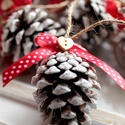 Karácsonyi toboz díszek, Dekoráció, Ünnepi dekoráció, Karácsonyi, adventi apróságok, Karácsonyi dekoráció, 9db   toboz dísz.  , Meska