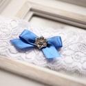 Valami kék menyasszonyi combfix, Esküvő, Hajdísz, ruhadísz, Menyasszonyi ruha, Mindenmás, Rugalmas csipke 42cm, Meska