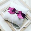 Gyűrűpárna, Esküvő, Gyűrűpárna, Hajdísz, ruhadísz, 12x12 cm-es gyűrűtartó párna, fehér., Meska