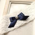 Valami kék virágos menyasszonyi combfix, Esküvő, Hajdísz, ruhadísz, Menyasszonyi ruha, Mindenmás, Rugalmas csipke 42cm, Meska