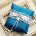 Kék gyűrűpárna , Esküvő, Gyűrűpárna, Hajdísz, ruhadísz, Mindenmás, Varrás, 12x12 cm-es gyűrűtartó párna, kobaltkék színben, taft., Meska