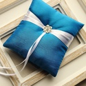 Kék gyűrűpárna , Esküvő, Gyűrűpárna, Hajdísz, ruhadísz, 12x12 cm-es gyűrűtartó párna, kobaltkék színben, taft., Meska