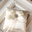 Gyűrűpárna, Esküvő, Gyűrűpárna, Hajdísz, ruhadísz, 10x10 cm-es gyűrűtartó párna, ekrü., Meska
