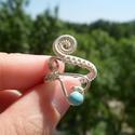 Szivecske gyűrű, Ékszer, óra, Gyűrű, Nikkelmentes ezüstözött gyűrű,türkinittel díszítve. A gyűrű méretét személyre szabottan..., Meska