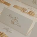 Mimi esküvői meghívó, Esküvő, Meghívó, ültetőkártya, köszönőajándék, Papírművészet, Esküvői meghívó csomag - egyedi szöveggel, 20 db  A képen látható stílusú praktikus háromba hajtós,..., Meska
