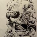 Tattoo, Képzőművészet, Grafika, Rajz, Fotó, grafika, rajz, illusztráció, Koponya mintás,grafika,nem csak  tattoo mániásoknak! A-3 méretben,fehér papíron., Meska