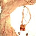 Tűz elem-ékszer szett, Ékszer, Fülbevaló, Nyaklánc, Vöröses-narancs ,lángszínű ékszerek: kifogyhatatlan energiával ajándékoz meg ez a páros. K..., Meska