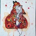 Szelíden, Dekoráció, Képzőművészet, Napi festmény, kép, Festészet, Rókapár illusztráció,vörös-narancs színekkel, indás motívumokkal kontúrozva. Kisméretű festett képe..., Meska