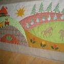 Lovas falvédő 150x80 cm, Baba-mama-gyerek, Gyerekszoba, Falvédő, takaró, Színes és mintás pamutvásznakból készült ez a falikép.  Applikációs technikával kerültek..., Meska