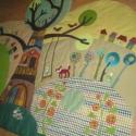 Manós falvédő kb 160x140 cm, de nem téglalap alakú, Baba-mama-gyerek, Gyerekszoba, Falvédő, takaró, Falvédő,   Juli gondolatai alapján, folyamatos egyeztetéssel készült ez a textilrátétes falikép. Puha,..., Meska