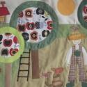 Kertes-almafás falikép 120x60 cm, Baba-mama-gyerek, Gyerekszoba, Falvédő, takaró, Falvédő, Színes és mintás pamutvásznakból készült ez a falikép, melyet magam terveztem. Applikációs..., Meska