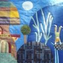 Manós falvédő 200x80 cm, Otthon, lakberendezés, Lakástextil, Falvédő,   A Megrendelő gondolatai alapján, folyamatos egyeztetéssel készült ez a textilrátétes falikép. Puha..., Meska