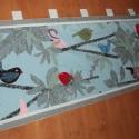 Madárkás falikép, Madárka és gally mintás vászonból készített...