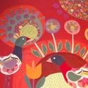 Élénk, madaras mesefalvédő 120 x 90 cm, Baba-mama-gyerek, Gyerekszoba, Falvédő, takaró, Színes és mintás pamutvásznakból készült ez a falikép.  Applikációs technikával kerültek rá a figurá..., Meska