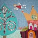 Tündéres mesefalvédő 100 x 100 cm, Baba-mama-gyerek, Gyerekszoba, Falvédő, takaró, Színes és mintás pamutvásznakból készült ez a falikép. Aprólékos, részletgazdag, sokféle mese szőhet..., Meska