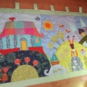 Tornácos házas, kerti tavacskás, tündéres, manós falvédő (160 x 70 cm)